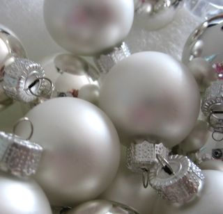 Silver ornaments closeup