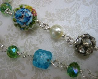 Finished necklace floral bead