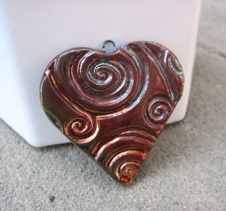 Raku copper swirl heart pendant