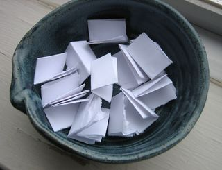 Paper in bowl