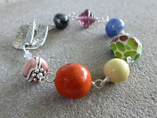 Rainbow porcelain bracelet side 1