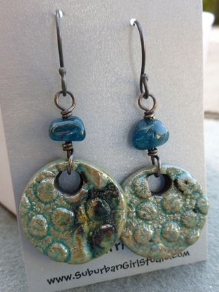 Blue green raku coral earrings side