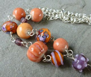 Art beads in necklace