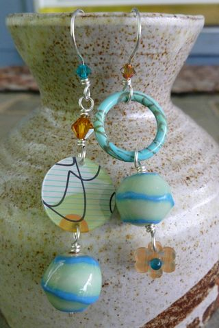 Blue Green mismatched earrings