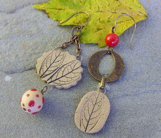 Stoneware leaf earrings 1
