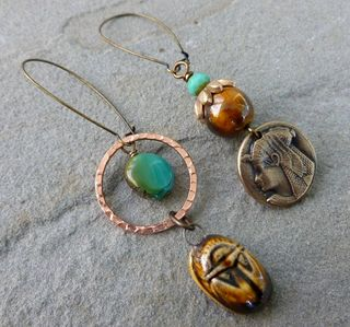 Egyptian mismatch earrings