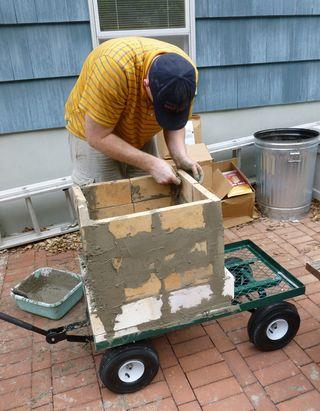 Colin building the kiln 2