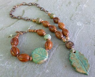 Earthy leaf jewelry set
