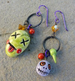 Mismatched zombie earrings