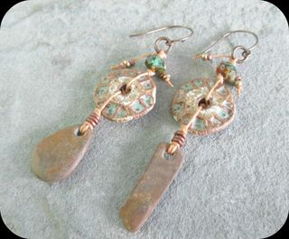 Linen and stoneware earrings