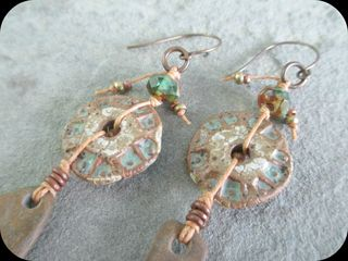 Linen and stoneware earrings close up