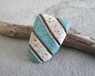 Aqua and White Cabochon 1