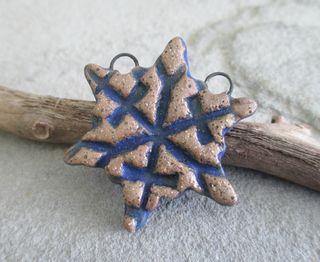 Matte Blue Snowflake Pendant 1