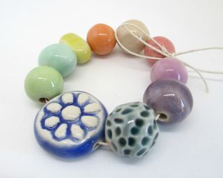 Rainbow porcelain bead set 2