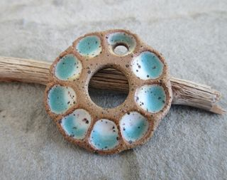 Aqua and White Flower Pendant